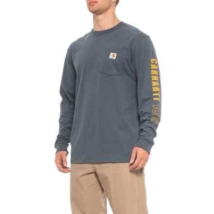 Carhartt Workwear 1889 Sleeve Logo T-Shirt - Long Sleeve (For Men) in Bluestone - Closeouts