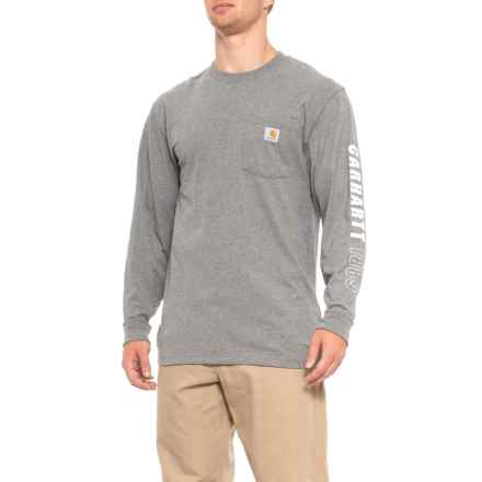 Carhartt Workwear 1889 Sleeve Logo T-Shirt - Long Sleeve (For Men) in Granite Heather - Closeouts