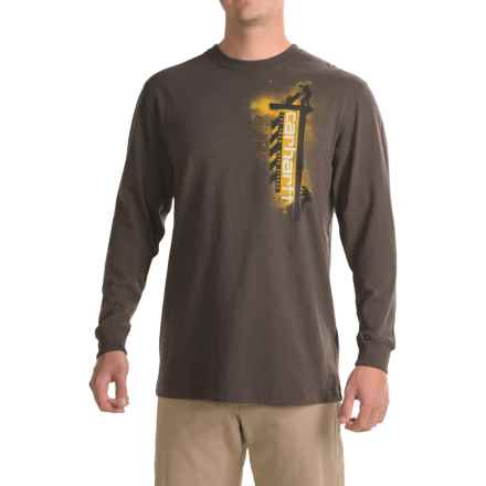Carhartt Workwear Graphic Work Strong T-Shirt - Long Sleeve, Factory Seconds (For Big and Tall Men) in Dark Brown - 2nds