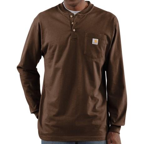 Carhartt Workwear Henley Shirt - Long Sleeve (For Men) in Dark Brown