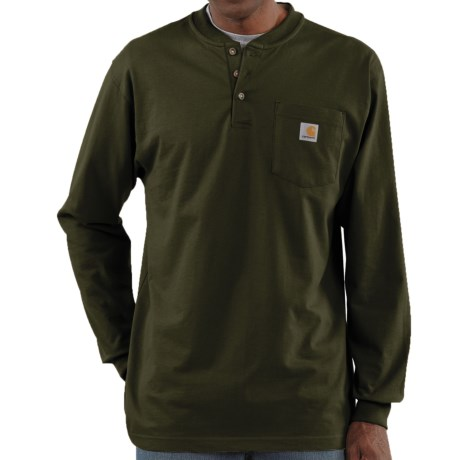 Carhartt Workwear Henley Shirt - Long Sleeve (For Men) in Brown Boot