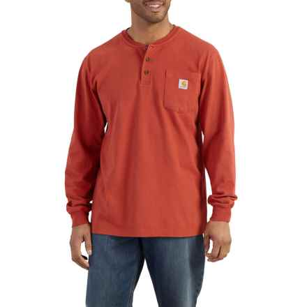 Carhartt Workwear Pocket Henley - Long Sleeve (For Big and Tall Men) in Chili - Closeouts