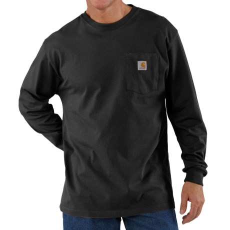 Carhartt Workwear Pocket T-Shirt - Long Sleeve, Factory Seconds (For Big and Tall Men) in Black