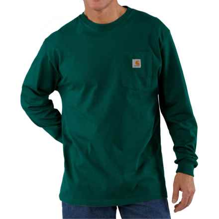 Carhartt Workwear Pocket T-Shirt - Long Sleeve, Factory Seconds (For Big and Tall Men) in Hunter Green - 2nds
