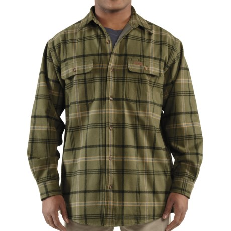 Carhartt Youngstown Flannel Shirt Jacket - Thermal Lined (For Tall Men) in Army Green