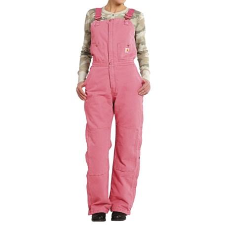 Carhartt Zeeland Sandstone Bib Overalls - Quilt Lined, Insulated (For Women) in Pink Rose