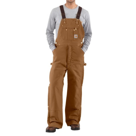 Carhartt Zip-to-Thigh Bib Overalls - Quilted Lining, Factory Seconds (For Men) in Carhartt Brown