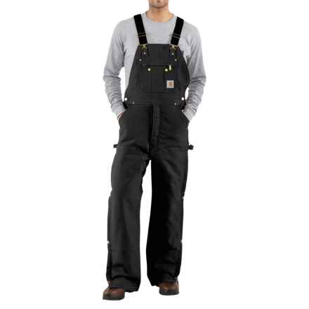 Carhartt Zip-to-Thigh Bib Overalls - Quilted Lining (For Men) in Black - 2nds