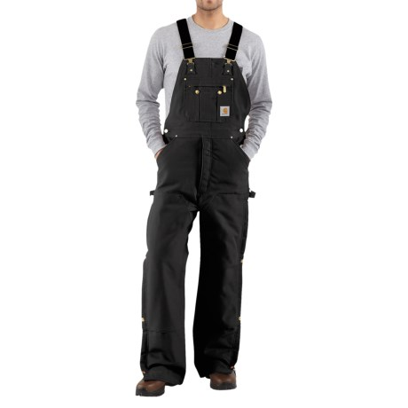 Carhartt Zip-to-Thigh Bib Overalls - Quilted Lining (For Men) in Black
