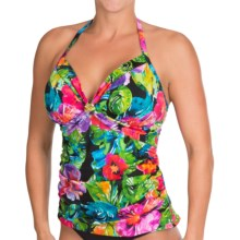 Caribbean Joe Aria Alyson Halter Tankini Top (For Women) in Black - Closeouts