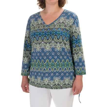 Caribbean Joe Baroque Geo Side-Tie Shirt - 3/4 Sleeve (For Plus Women) in Health Green - Closeouts