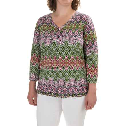 Caribbean Joe Baroque Geo Side-Tie Shirt - 3/4 Sleeve (For Plus Women) in Metro Rose - Closeouts