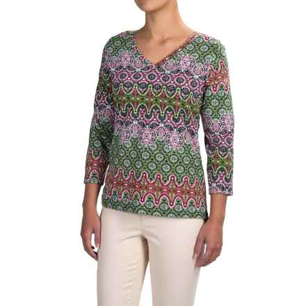 Caribbean Joe Baroque Side-Ruched Shirt - 3/4 Sleeve (For Women) in Metro Rose - Closeouts