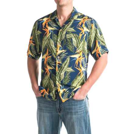 Caribbean Joe Bird of Paradise Shirt - Short Sleeve (For Men) in Military Blue - Closeouts