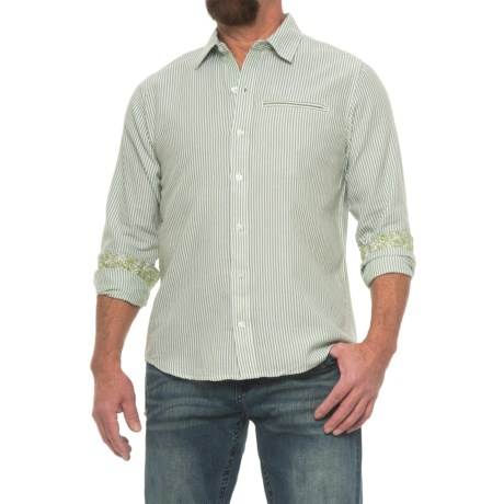 Caribbean Joe Button Shirt - Long Sleeve (For Men) in Olive Marine