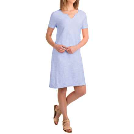 Caribbean Joe Corded Knit Dress - Short Sleeve (For Women) in Blue Lolite - Closeouts