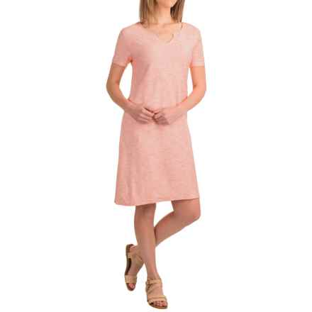 Caribbean Joe Corded Knit Dress - Short Sleeve (For Women) in Ciana Coral - Closeouts