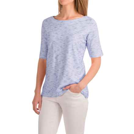 Caribbean Joe Corded Knit Shirt - Boat Neck, Elbow Sleeve (For Women) in Blue Lolite - Closeouts