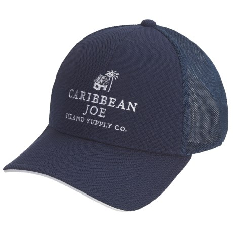 Caribbean Joe Cotton Twill Baseball Cap - Vented Crown (For Men and Women) in Navy/White