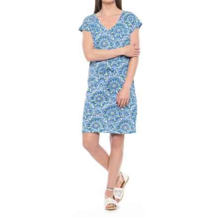 Caribbean Joe Dolman Sleeve Tie Waist Dress - Short Sleeve (For Women) in Blue Haven - Closeouts