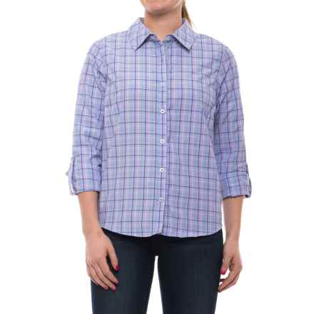 Caribbean Joe Dover Plaid Shirt - Cotton Blend, Roll-Up Long Sleeve (For Women) in Azulene - Closeouts