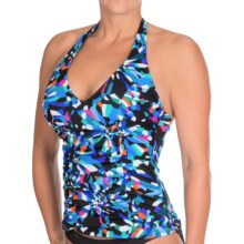 Caribbean Joe Elektra Halter Tankini Top (For Women) in Black - Closeouts