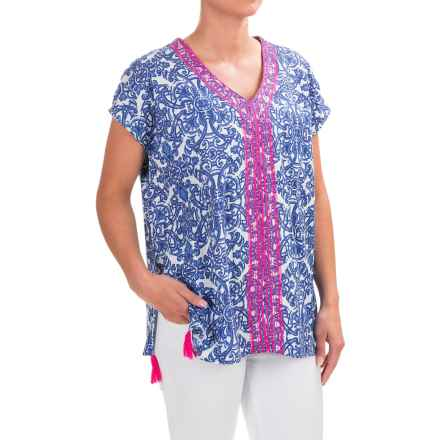 Caribbean Joe Embroidered-Trim Poncho Shirt - Sleeveless (For Women) in Deep Dive - Closeouts