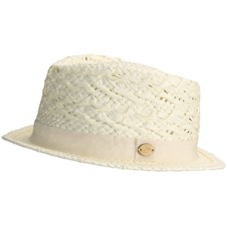 Caribbean Joe Fancy Weave Fedora Hat - Woven Paper (For Men and Women) in Ivory