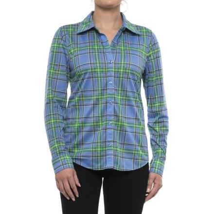 Caribbean Joe Fine-Knit Shirt - Button Front, Long Sleeve (For Women) in Blue Haze - Closeouts