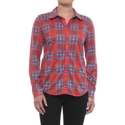 Caribbean Joe Fine-Knit Shirt - Button Front, Long Sleeve (For Women) in Orange Blush - Closeouts