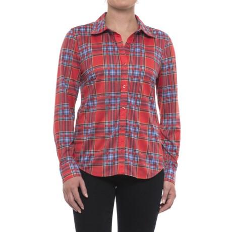 Caribbean Joe Fine-Knit Shirt - Button Front, Long Sleeve (For Women) in Orange Blush