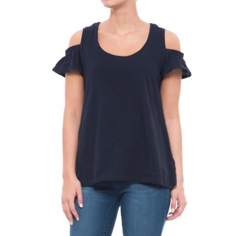 Caribbean Joe Flutter Cold-Shoulder Shirt - Short Sleeve (For Women) in Military Blue