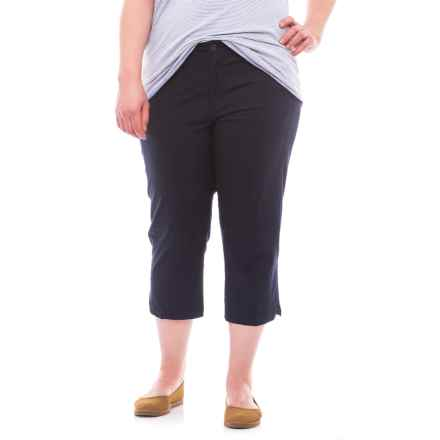 Caribbean Joe Forward Seam Poplin Capris (For Plus Size Women) in Military Blue - Closeouts