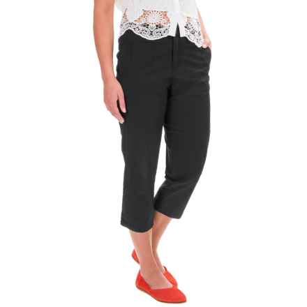 Caribbean Joe Forward Seam Poplin Capris (For Women) in Black - Closeouts