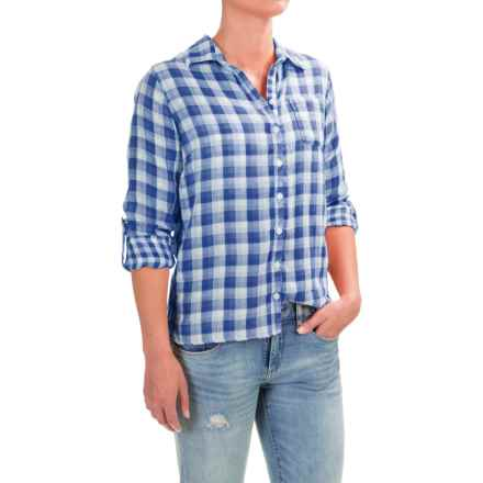 Caribbean Joe Gauze Plaid Roll-Tab Shirt - Long Sleeve (For Women) in Military Blue - Closeouts