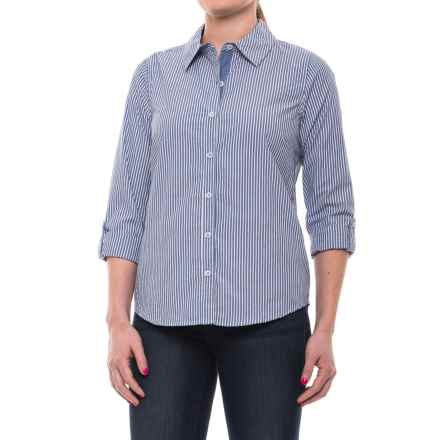 Caribbean Joe Jenna Stripe Shirt - Cotton, Roll-Up Long Sleeve (For Women) in Dark Skye - Closeouts