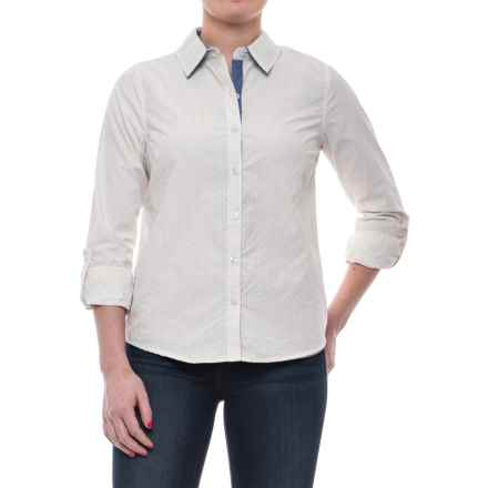 Caribbean Joe Jenna Stripe Shirt - Cotton, Roll-Up Long Sleeve (For Women) in Sand - Closeouts