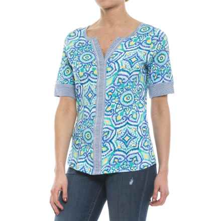 Caribbean Joe Medallion Print Shirt - Elbow Sleeve (For Women) in Mint Chip - Closeouts