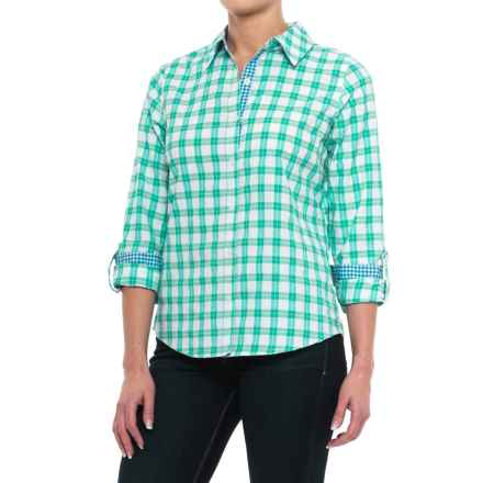 Caribbean Joe Nice Day Plaid Shirt - Long Sleeve (For Women) in Emerald Wave - Closeouts