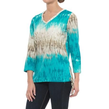 Caribbean Joe Ocean Tie-Dye Shirt - 3/4 Sleeve (For Women) in Spring Water