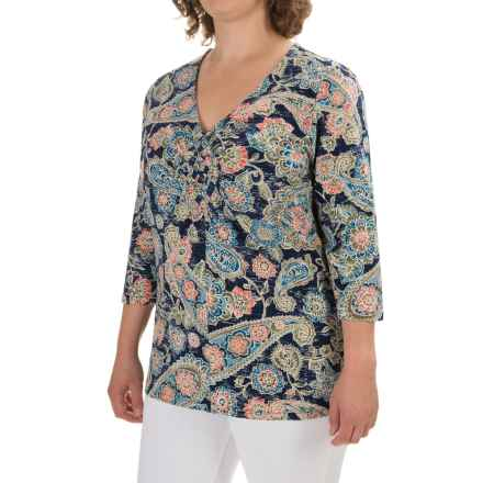 Caribbean Joe Paisley Festival Shirt - 3/4 Sleeve (For Plus Women) in Storm Coat - Closeouts