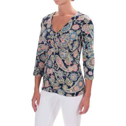 Caribbean Joe Paisley Festival Shirt - 3/4 Sleeve (For Women) in Storm Coat - Closeouts