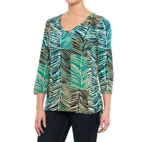 Caribbean Joe Palm Patch Side-Cinch Shirt - 3/4 Sleeve (For Women) in Hydrous