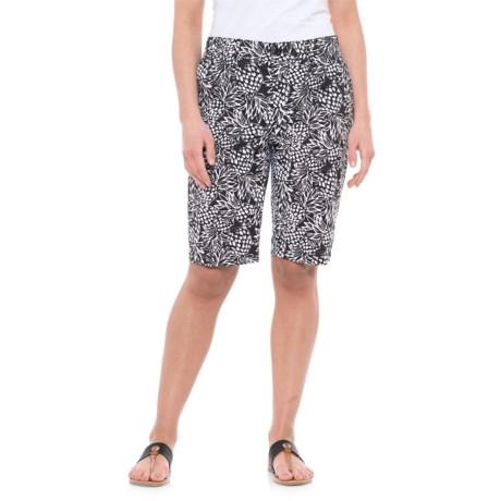 Caribbean Joe Pineapple Printed Skimmer Shorts (For Women) in Black