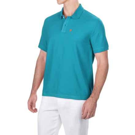Caribbean Joe Pique Polo Shirt - Short Sleeve (For Men) in Peacock Blue - Closeouts
