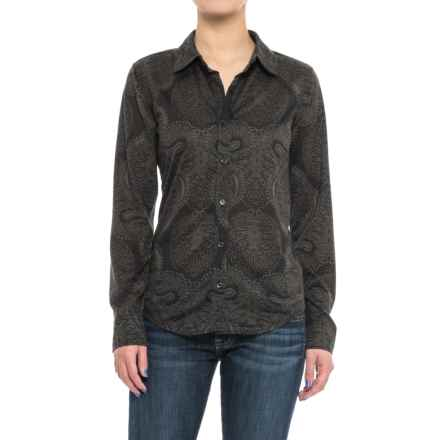 Caribbean Joe Print Jersey Shirt - Button Front, Long Sleeve (For Women) in Black - Closeouts