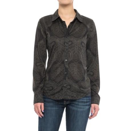 Caribbean Joe Print Jersey Shirt - Button Front, Long Sleeve (For Women)