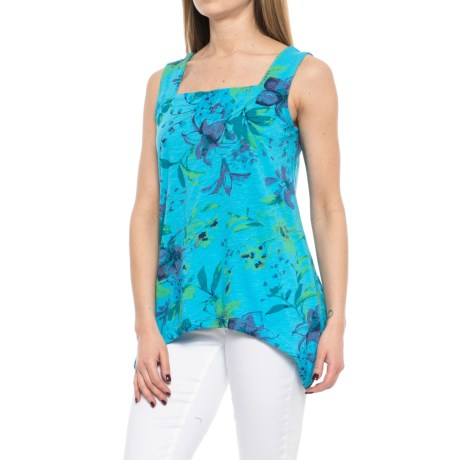 Caribbean Joe Printed and Dyed Swing Tank Top (For Women) in Turquoise Reef