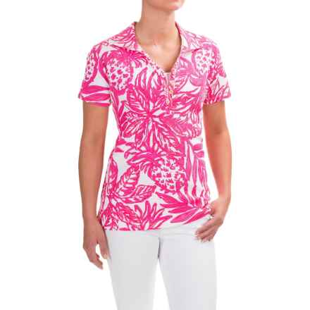 Caribbean Joe Printed and Textured Polo Shirt - Short Sleeve (For Women) in Aloha Pink - Closeouts