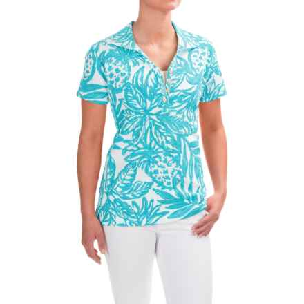 Caribbean Joe Printed and Textured Polo Shirt - Short Sleeve (For Women) in Aqua Wave - Closeouts